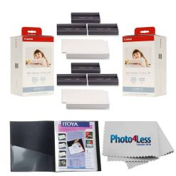"""Canon KP-108IN Color Ink And Paper Set x2 + Itoya Art Profolio Original Storage/Display Book (4 x 6"""", 24 Two-Sided Pages) + Photo4Less Cleaning Cloth"""