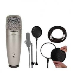 Samson C01U Pro USB Studio Condenser Microphone + On Stage Mic Cable + On Stage Pop Blocker w/ Replacement Liners + On Stage Pop Blocker Replacement Filters + Ultimate Microphone Bundle