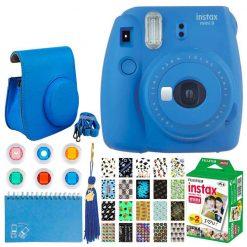 Fujifilm Instax Mini 9 Instant Camera (Cobalt Blue) + Fujifilm Instax Mini Twin Pack Instant Film + Xit 20 Sticker Frames  + Xit Case +  Xit Scrapbooking Album + Xit Color Close-Up Lens Filters