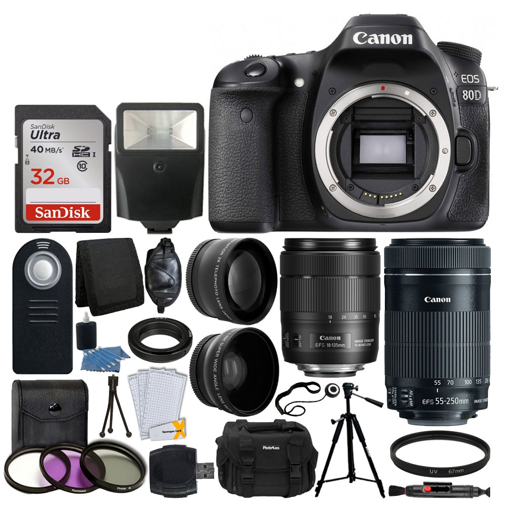 Canon EOS 80D DSLR Camera Body + Canon EF-S 18-135mm f/3 5-5 6 IS USM Lens  & Canon EF-S 55-250mm f/4-5 6 IS STM Lens + 67mm 2x Lens + Wide Angle Lens