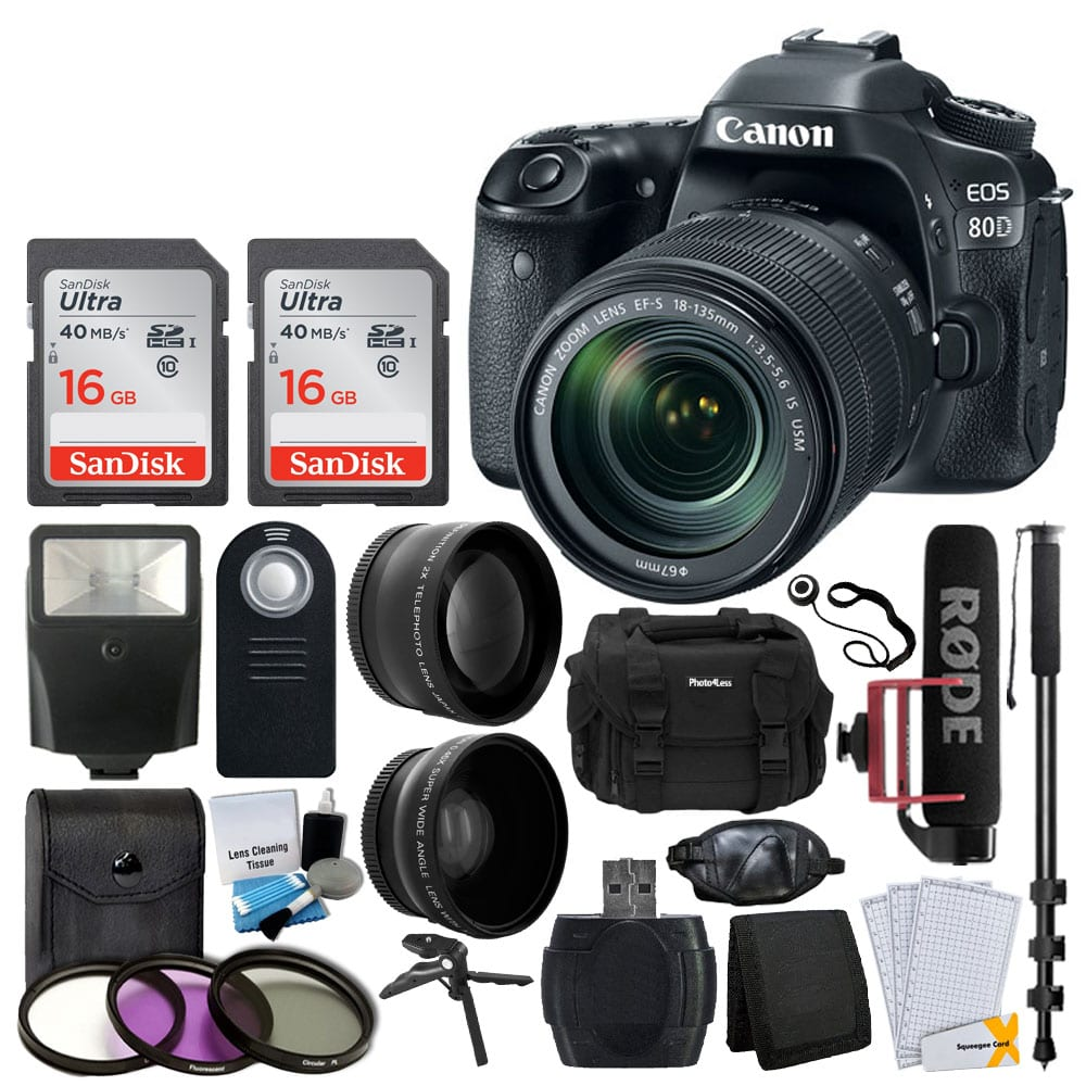 Photo4less Canon Eos 80d Dslr Camera With 18 135mm Lens Video Body Built In Wifi Creator
