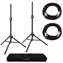 Pair of Ultimate Support TS90 Aluminum Speaker Stands with Speaker Stand Bag + 2 XLR Mic Cables 20 Ft