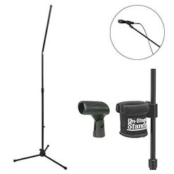 On Stage MS8301 Upper Rocker-Lug Mic Stand with Tripod Base + On Stage Clamp-On Drink Holder + On Stage Unbreakable Dynamic Rubber Mic Clip + Deluxe Microphone Accessory Bundle