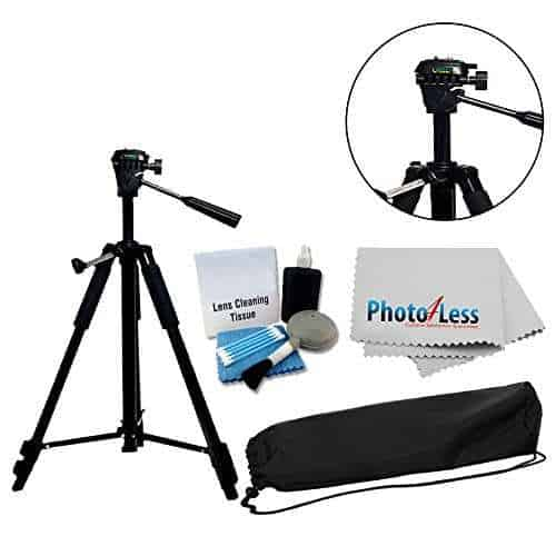 Professional 57 Inch Camera/Video Tripod (Black) for Cameras and Camcorders + Compact Carrying Case + 5 Piece Cleaning Kit + Photo4Less Cleaning Cloth + Deluxe Tripod Accessory Bundle