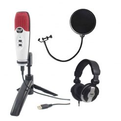 CAD Audio U37 USB Studio Condenser Vocal,Instrument & Recording Microphone, Red White With CAD Audio 6 Pop Filter on Gooseneck + CAD Audio MH110 Studio Monitor Headphones