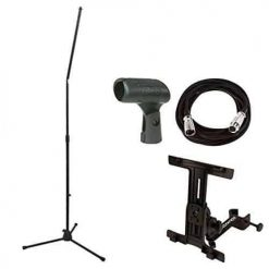 On Stage MS8301 Upper Rocker-Lug Mic Stand with Tripod Base + Ultimate Universal iPad Holder + 20 ft. XLR + On Stage Euro-Style Plastic Mic Clip + Valued Bundle