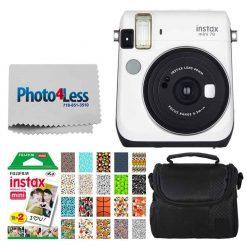 Fujifilm instax Mini 70 Instant Film Camera (Moon White) + Fujifilm Instax Mini Twin Pack Instant Film + Small Digital Camera/Video Case + 20 Sticker Frames Fuji Instax Prints Sports Package