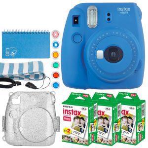 Fujifilm Instax Mini 9 Instant Camera (Cobalt Blue) + Fujifilm Instax Mini Twin Pack Instant Film (60 Exposures) + Glitter Hard Case + Scrapbooking Album + Colored Lens Filters + Neck Strap – Full Kit