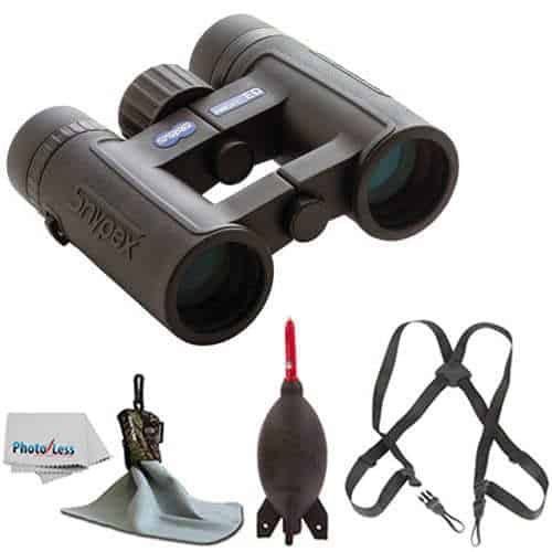 SNYPEX 8×32 Knight ED Water Proof Roof Prism Binocular With Case + Harness + Rocket Air Dust Blaster + Microfiber Spudz Cloth & Cleaning Cloth