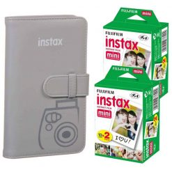 Fujifilm instax Wallet Album (Smokey White) + Fujifilm Instax Mini Twin Pack Instant Film (40 Exposures) – Great Value Bundle For Instax Mini 8 & 9 Cameras
