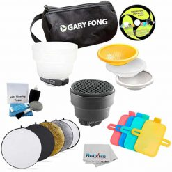 Gary Fong Fashion and Commercial Lighting Flash Modifying Kit With Neewer 110CM 43-Inch 5-in-1 Collapsible Multi-Disc Light Reflector, Silver, Gold,White, Black, & Translucent in Case For Nikon Flash SB-700 SB-900 SB 910 SB-400 SB-300 SB-600 SB-800 + Clea