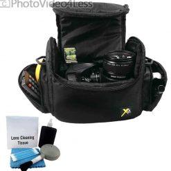 Deluxe Soft Padded Medium Bag For Digital SLR Camera Lens & Video accessories Case for NIKON D3000 D3100 D3200 D3300 D5100 D5200 D5300 D7000 D7100 + CAMERA AND LENS CLEANING KIT