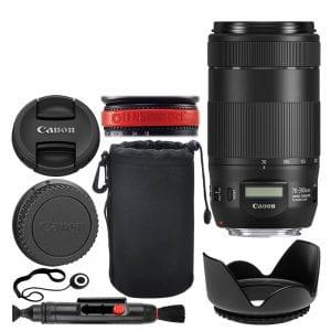 Canon EF 70-300mm f/4-5.6 IS II USM Lens + Neoprene Soft 8 Lens Pouch + 67mm Lens Hood + Lens Cleaning Pen + Lens Band, Stop Zoom Creep + Lens Cap Holder – Full Lens Accessory Bundle