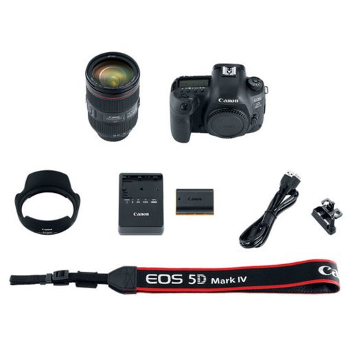 Canon EOS 5D Mark IV DSLR Camera + EF 24-105mm f/4L IS II USM Lens + Transcend 128GB SDXC Memory Card + Canon RC-6 Wireless Remote + Canon Battery Pack LP-E6N + SLR Large Gadget Bag + Accessories