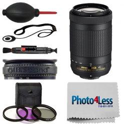 Nikon AF-P DX NIKKOR 70-300mm f/4.5-6.3G ED VR Lens +Filter Kit +More Value Kit