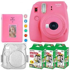 Fujifilm Instax Mini 9 Instant Camera (Flamingo Pink) + Fujifilm Instax Mini Twin Pack Instant Film (20 Exposures) + Glitter Hard Case + Colored Filters + Album (White) + Sticker Frames Nature Package