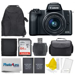Canon EOS M50 Mirrorless Camera Kit w/ EF-M15-45mm Lens and 4K Video (Black)
