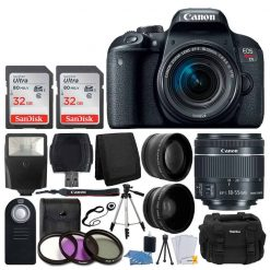 Canon EOS Rebel T7i Digital SLR Camera with EF-S 18-55mm f/4-5.6 IS STM Lens + 58mm Wide Angle Lens + 2x Telephoto Lens + Flash + 64GB SDHC Memory Card + UV Filter Kit + Tripod + Full Accessory Bundle