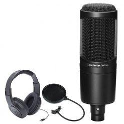 Audio-Technica AT2020 Cardioid Condenser Studio Microphone + Samson SR350 Over-Ear Stereo Headphones + CAD Audio EPF-5A VP 1 Pop Filter 6 on 14-Inch Gooseneck