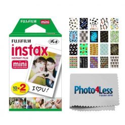 Fujifilm instax mini Instant Film (20 Exposures) + 20 Sticker Frames for Fuji Instax Prints Graduation Package + Photo4Less Cleaning Cloth – Deluxe Accessory Bundle