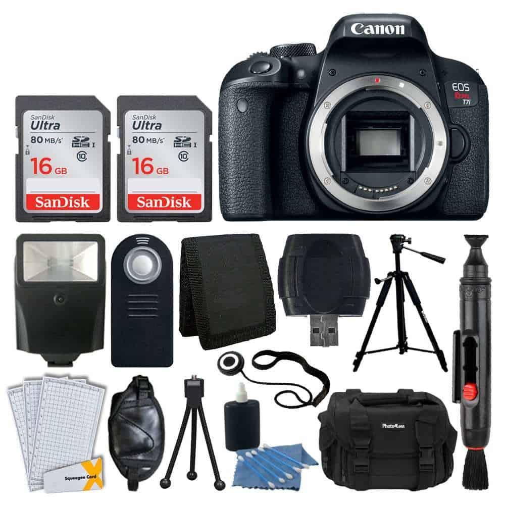 Canon Eos Rebel T7i Digital Slr Camera Body Only 32gb Memory Card Slave Flash Quality Tripod Camera Bag Usb Card Reader Wireless Remote