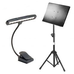 On Stage Conductor Stand With Tripod Folding Base + Clip-On Orchestra Light With Solo Head and 10 LED White Lights