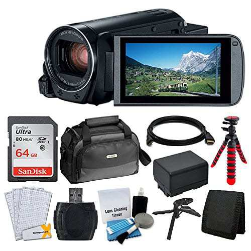Canon VIXIA HF R80 Camcorder + Canon SC-A80 Soft Case + 64GB Memory Card +  Extra BP-727 Battery Pack + Flexible, Wrappable Tripod + USB Card Reader +