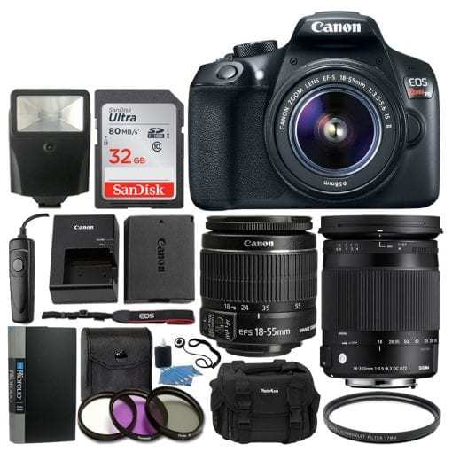 Canon EOS Rebel T6 Digital SLR Camera with 18-55mm EF-S f/3.5-5.6 IS II Lens Full Accessory Bundle