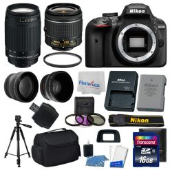 Nikon D3400 Digital SLR Camera + 16GB Top Value Bundle + 18-55mm VR + 70-300mm