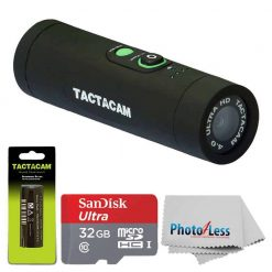 TACTACAM 4.0 With Custom Gun Mount + TACTACAM Rechargeable Battery + Ultra 32GB microSDHC UHS-I Card with Adapter + Photo4Less Cleaning Cloth + Valued Accessory Bundle