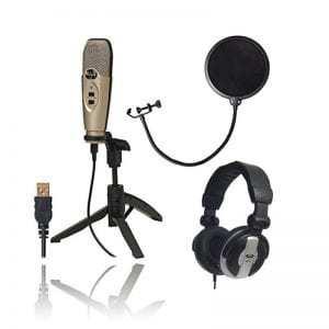 CAD Audio U37 USB Studio Condenser Vocal,Instrument & Recording Microphone With CAD Audio 6 Pop Filter on Gooseneck + CAD Audio MH110 Studio Monitor Headphones