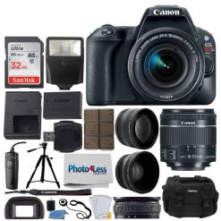 Canon EOS Rebel SL2 DSLR Camera + EF-S 18-55mm f/4-5.6 IS STM Lens + 58mm 2X Telephoto & Wide Angle Lens + 32GB Memory Card + Slave Flash + Quality Tripod + Wireless Remote + Full Accessory Bundle