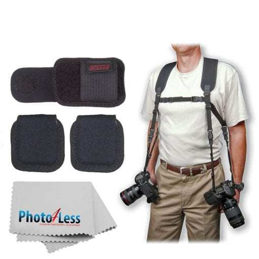OP/TECH USA Dual Harness + Op/Tech Media Holsters + Op/Tech Battery Holster + Photo4Less Camera & Lens Cleaning Cloth – Ultimate Value Accessory Bundle