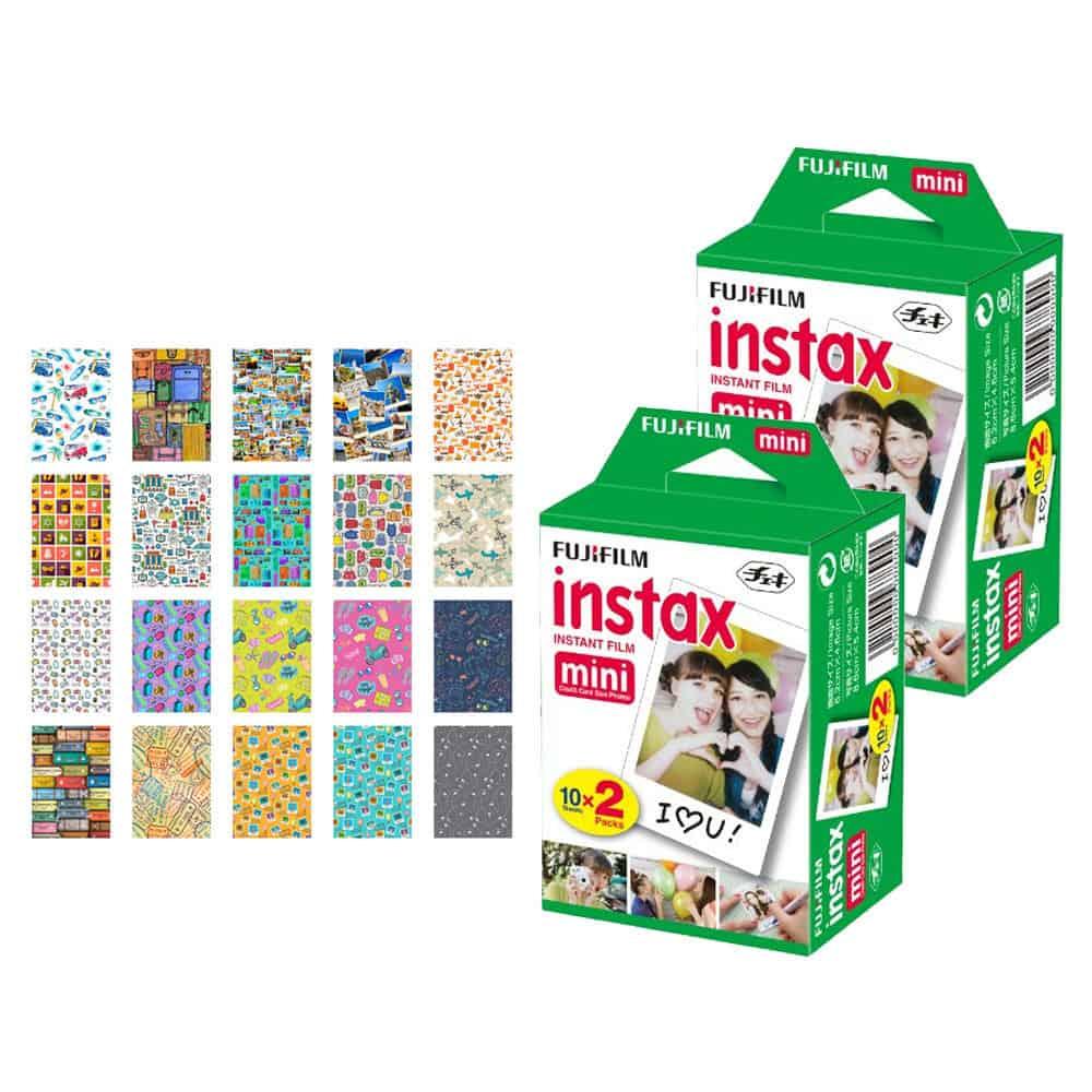 Fujifilm instax mini Instant Film (40 Exposures) + 20 Sticker Frames for Fuji Instax Prints Travel Package