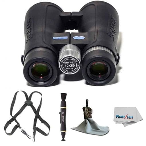 SNYPEX Optics New 2016 Knight 10×50 D-ED Waterproof/Fogproof Prism Binoculars + Ultra Microfiber Cloth with Pouch + Black Webbing Harness + Lens Cleaning Pen + Photo4Less Cleaning Cloth + Deluxe Kit