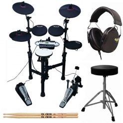 Carlsbro CSD130 9-Piece Compact Electronic Drum Kit + On Stage Double-Braced Drum Throne + Drummer Isolation Headphones + Vic Firth American Classic 5A Drum Sticks