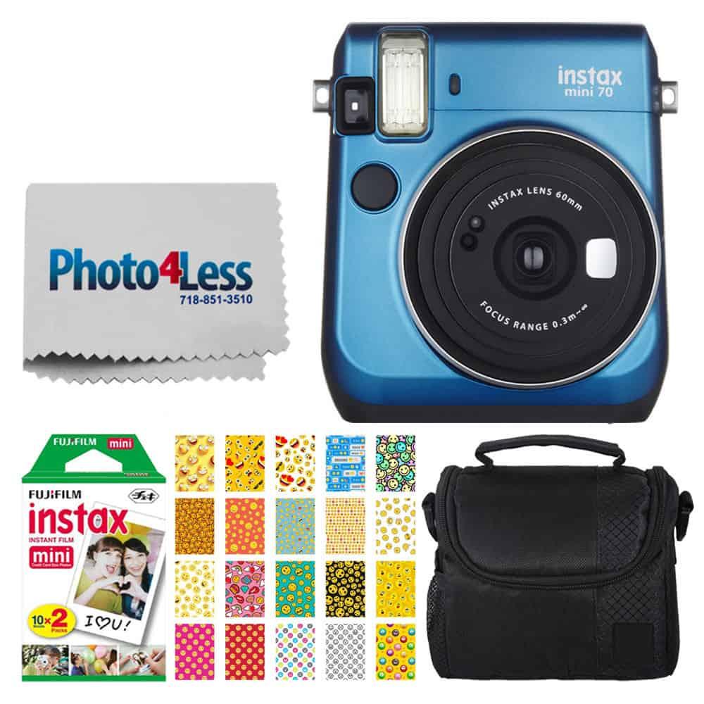 Fujifilm instax Mini 70 Instant Film Camera (Island Blue) + Fujifilm Instax Mini Twin Pack Instant Film + Small Digital Camera/Video Case + 20 Sticker Frames for Fuji Instax Prints Emoji Package
