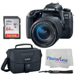 Canon EOS 77D DSLR Camera + Canon EF-S 18-135mm f/3.5-5.6 IS USM Lens + Canon EOS Shoulder Bag 100ES (Black) + SanDisk Ultra SDXC 64GB 80MB/S Class 10 Flash Memory Card + Value Canon Accessory Bundle