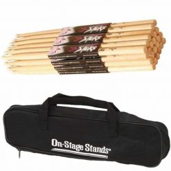 On-Stage DSB6500 Small Drum Stick Bag + On Stage Hickory Nylon 7A (12 pair) - Ultimate Value Drum Accessory Bundle