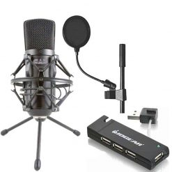 "Cad Audio GXL2600 USB Premium Large Diaphragm Cardoid Condenser Microphone With 10' USB Cable + Pop Blocker 4"" + IOGEAR 4-Port USB 2.0 Hub"