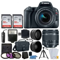 Canon EOS Rebel SL2 Digital SLR Camera + EF-S 18-55mm f/4-5.6 IS STM Lens + 64GB Memory Card + Wide Angle & Telephoto Lens + Wireless Remote + Filter Kit + Canon 100ES Case - Valued Accessory Bundle
