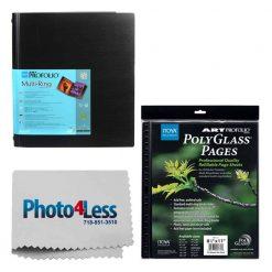 Itoya Art Portfolio Standard Binder Multi Ring Album 8.5 x 11 RB811 + Itoya Art Portfolio Polyglass Refill Pages (Set of 10) 8.5 x 11 PR811 + Photo4Less Cleaning Cloth + Deluxe Presentation Bundle