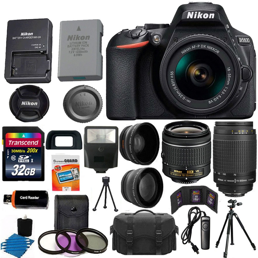 Nikon D5600 + AF-P 18-55 VR DSLR Camera - Black + Deluxe Kit