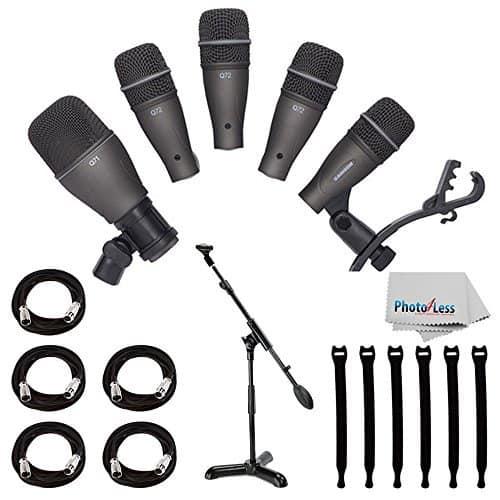 Samson DK705 5-Piece Drum Microphone Kit + Samson MB1 Mini Boom Stand + 5x Mic Cable, 20 ft. XLR Bulk + Op/Tech Strapeez, Black + Photo4Less Cleaning Cloth - Valued Accessory Bundle