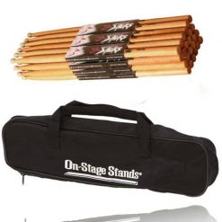 On Stage Maple Wood 5B (12 pair) + On-Stage DSB6500 Small Drum Stick Bag - Deluxe Drum Accessory Bundle