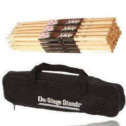 On Stage 5A Maple Drum Sticks - 12 Pair, Wood Tip +DSB6500 Drum Stick Bag