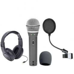Samson Q2U Recording and Podcasting Pack with USB/XLR Dynamic Microphone + Samson SR350 Over-Ear Stereo Headphones + Pop Filter & Foam Windscreen