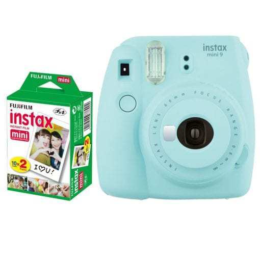 Fujifilm instax mini 9 Instant Film Camera (Ice Blue) + Fujifilm Instax Mini Twin Pack Film (20 Shots) – Deluxe Valued Bundle – International Version (No Warranty)