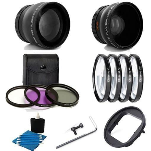 Deluxe Lens Kit For Gopro Hero4 Hero3+ Camera 52MM 2X Professional Telephoto Lens With High Definition 52MM Wide Angle Lens + Close-Up Macro Filter Set (+1 +2 +4 +10) With 3 PC Filter Kit UV CPL FLD Adapter 52mm For GoPro Hero4 Hero3+ Black Silver White C