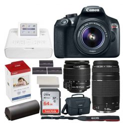 Canon EOS Rebel DSLR T6 Camera Body + Canon EF-S 18-55mm f/3.5-5.6 IS II Lens + Canon EOS Shoulder Bag 100ES (Black) + Ultra SDXC 64GB 80MB/S C10 Flash Memory Card + Deluxe Canon Bundle